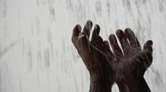4K Hands Welcome Heavenly Rain Stock Footage