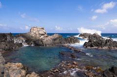 Natural Pool and Rocks, Arikok National Park, Aruba, Lesser Antilles, Caribbean Stock Photos