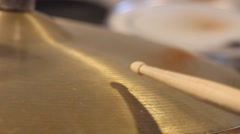Playing ride cymbal close up - stock footage