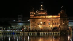 Golden Temple in Amritsar, Punjab, India at night Stock Footage