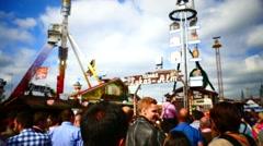 Munich Beer Festival Oktoberfest Octoberfest Hit Lukas in fairground OUT-FOCUS Stock Footage