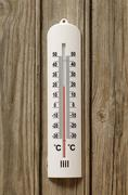 Close-up of Thermometer at 20 Degrees Celsius - stock photo