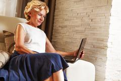 On line working at home - stock photo