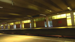Empty subway station, old spooky place, rails view below, industrial hall scrap Stock Footage