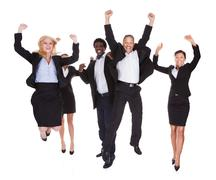 happy multi-racial group of business people - stock photo