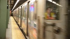 Subway Train Running in Manhattan New York Arkistovideo