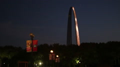 Cool night shot of St. Louis Arch - stock footage
