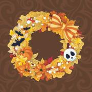 Vector Halloween wreath with pumpkin and bats Stock Illustration