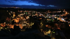 Aerial night view of Cappadocia Stock Footage