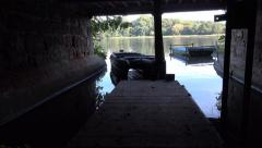 Old Building Boat Shed Over Looking Water - Abandoned Spaces Stock Footage