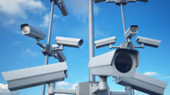 Security Cameras loop cctv safety control privacy - stock footage