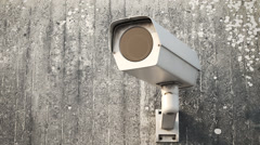 Security Camera On Wall cctv safety control privacy - stock footage