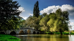 Romain bridge in ilidza, bridge water and clouds, Stock Footage