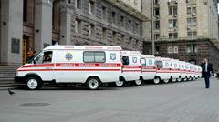 Ambulance cars, Kyiv City State Administration, Kyiv, Ukraine, Stock Footage