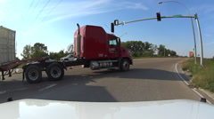 POV passing semi tractor trailer truck - stock footage