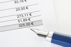 close-up on total amount in invoice - stock photo