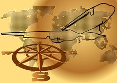 wind rose and plane - stock illustration