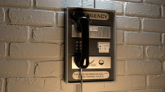 Close-up Of An Emergency Telephone help SOS 911 safety rescue Stock Footage