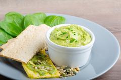 avocado-buttermilk green goddess dip - stock photo