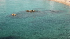 Amazing aerial shot mediterranean sea. People swimming Stock Footage