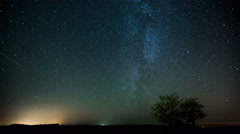 Night sky Milky Way stars and two trees landscape time-lapse 4K - stock footage