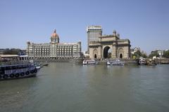 Taj Mahal Palace Hotel and Gateway of India, Mumbai, India Stock Photos