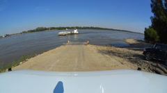Time lapse taking a car ferry across the Mississippi River Stock Footage