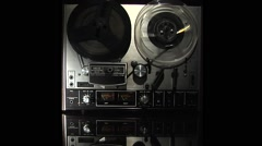 Tape recorder-reel to reel-3, WS reflection of recorder on glass Stock Footage