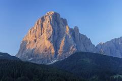 Mount Langkofel at Sunrise, Val Gardena, South Tyrol, Trentino-Alto Adige, - stock photo