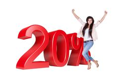 Exited woman jumping in front of 20% sale discount Stock Illustration