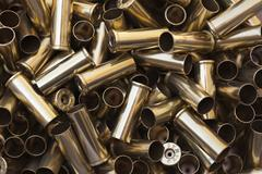 Close-up of Empty 44 Magnum Gun Cartridges, Studio Shot - stock photo
