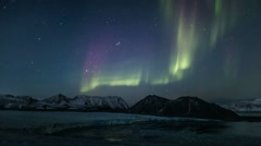 Northern Lights over the Arctic glacier - Spitsbergen, Svalbard - stock footage