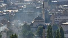 Sarajevo panoramic view, Begova Mosque Stock Footage