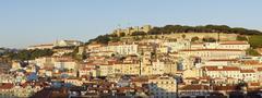 Panoramic View of Castelo de Sao Jorge, Alfama, Baixa, Lisbon, Portugal - stock photo