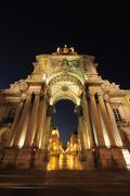 Arco da Rua Augusta in Praca do Comercio illuminated at Night, Baixa, Lisbon, - stock photo