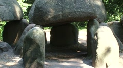 Entrance of large T shaped Prehistoric Dolmen BORGER - close up + zoom ou Stock Footage