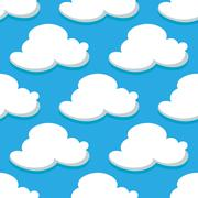 Seamless pattern of sky and white clouds Stock Illustration