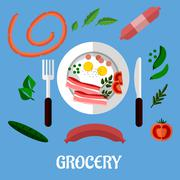 breakfast with groceries - stock illustration
