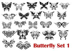 butterfly silhouette icons - stock illustration