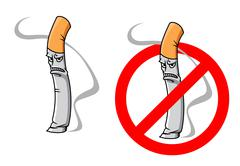 cartoon unhappy cigarette character - stock illustration