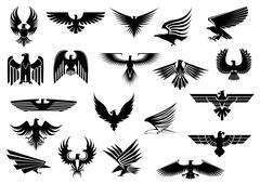 Various stylized black eagle graphics Stock Illustration