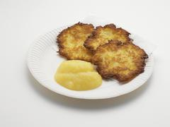 Stock Photo of Potato Fritters with Applesauce on Paper Plate, Studio Shot