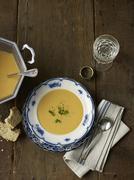 Overhead View of Split Pea Soup, Studio Shot Stock Photos