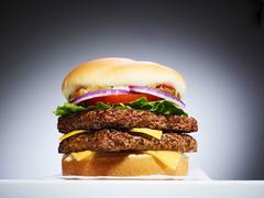 Close-up of Double Cheeseburger, Studio Shot Stock Photos