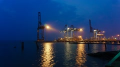 Klang North Port During Blue Hour Part 1 Stock Footage