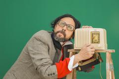 bakelite radio dumb - stock photo