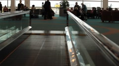 POV of Moving Walkway in Airport Stock Footage