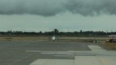 Air Canada Dash 8-300 Airplane Taxis on Tarmac - stock footage