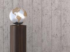 Illustration of metal globe on wooden stand, showing North and South America, - stock illustration