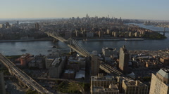 Stock Video Footage of Aerial New York Manhattan Brooklyn Bridge Manhattan Bridge
